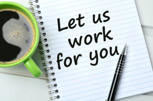 61666196 - let us work for you on notebook and coffee cup